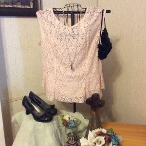 Heather Pink Lace Blouse